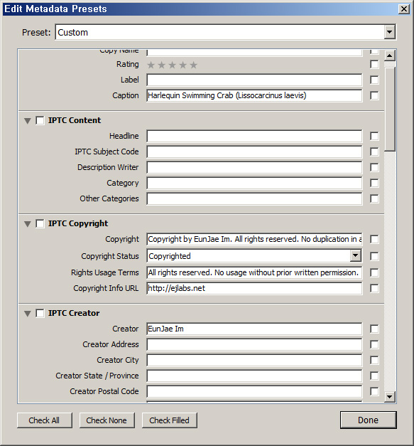 lightroom metadata preset editor